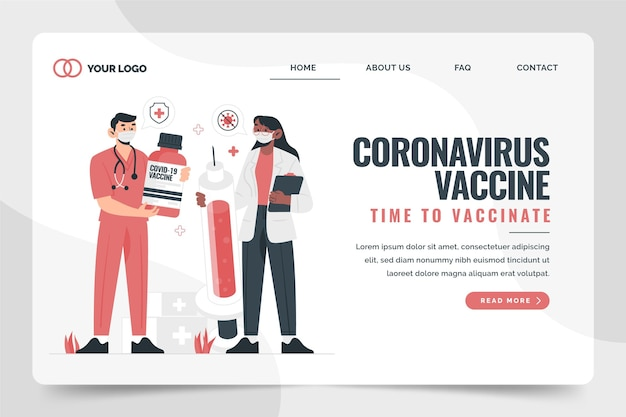 Нарисованная вручную целевая страница вакцины против коронавируса