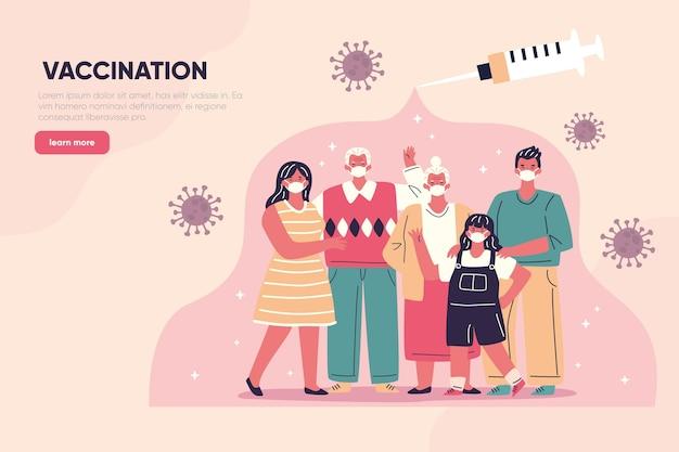 手描きのコロナウイルスワクチンのランディングページ