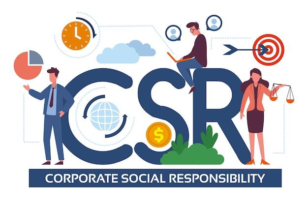 Concetto di responsabilità sociale aziendale disegnato a mano illustrato