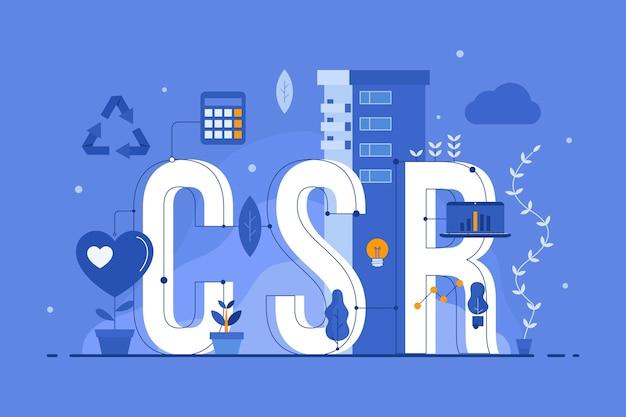 Illustrazione di concetto di responsabilità sociale aziendale disegnata a mano