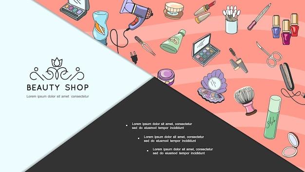 美容アクセサリースライドと手描きの化粧品の概念