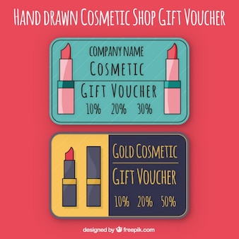 Hand drawn cosmetic gift voucher