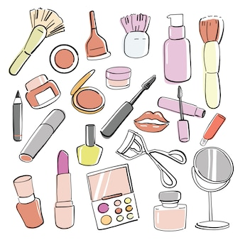 Hand drawn cosmetic products