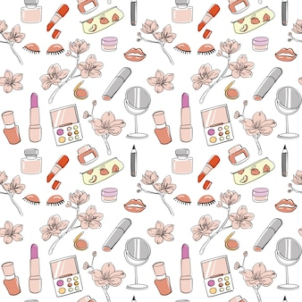 Hand drawn cosmetic seamless pattern