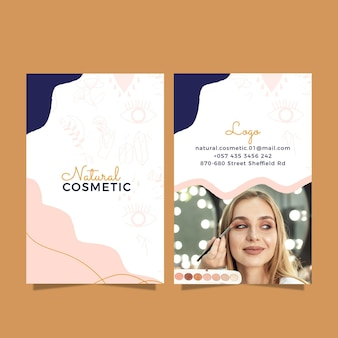 Hand drawn cosmetic vertical business card