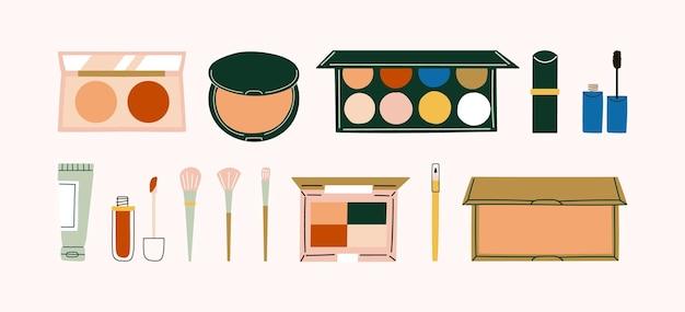 手描きの化粧品と化粧ブラシ。ブロンザー、チーク、コンパクトパウダー、アイシャドウパレット、口紅、マスカラ、チューブ、リップクリーム、アイペンシル。