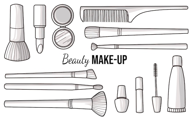 Hand drawn cosmetics and make up brushes