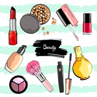 Hand drawn cosmetics set.