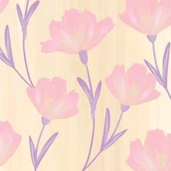手描きのコスモスの花のパターンの背景ベクトル