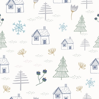 The hand drawn cottage and christmas tree seamless pattern