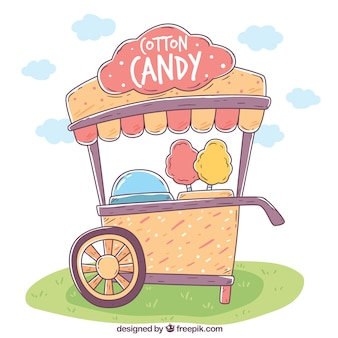Hand drawn cotton candy cart in the park