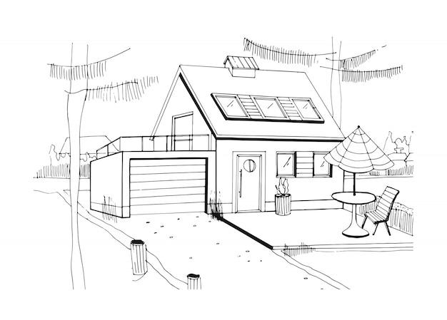 Ручной обращается загородный дом. современный частный жилой дом с гаражом. черно-белая иллюстрация эскиза.
