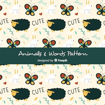 Hand drawn countryside animals and words pattern