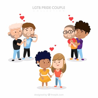 Hand drawn couple collection for lgtb pride