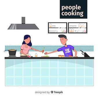 손으로 그린 커플 요리 배경