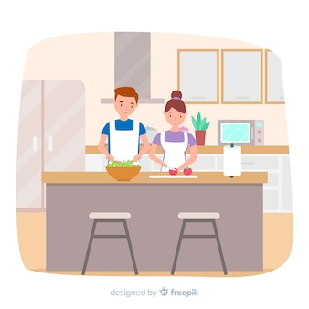 Hand drawn couple cooking background
