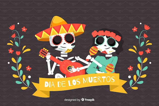 Hand drawn couple of día de muertos background