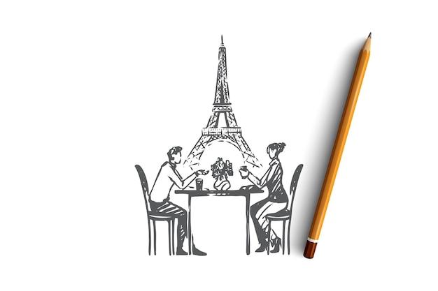 愛の手描きのカップルは、カフェのコンセプトスケッチに座っています