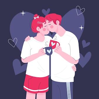 Нарисованная рукой пара поцелуев иллюстрации