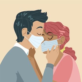 手描きのカップルがcovidマスクイラストでキス 無料ベクター