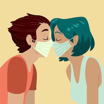 手描きのカップルがcovidマスクイラストでキス