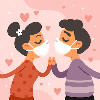 Hand drawn couple kissing with covid mask illustration