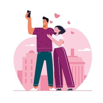 スマートフォンでselfieを取る手描きのカップル