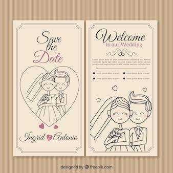 Mano paio disegnato invito a nozze