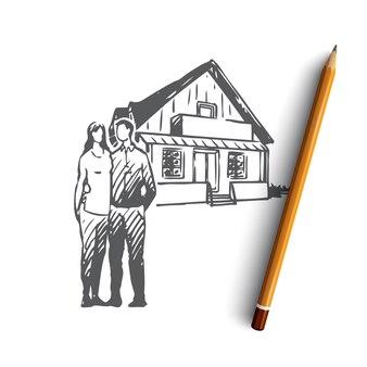 Ручной обращается пара с новым домом