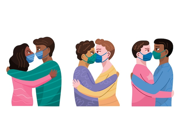 Coppie disegnate a mano che si baciano insieme