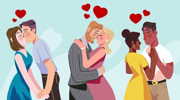 Coppie disegnate a mano che baciano illustrazione