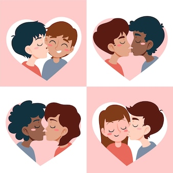 Нарисованная рукой иллюстрация поцелуя пары