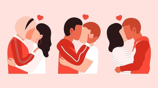 Hand drawn couples kissing illustration