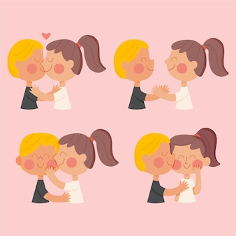 Hand drawn couples kissing illustration