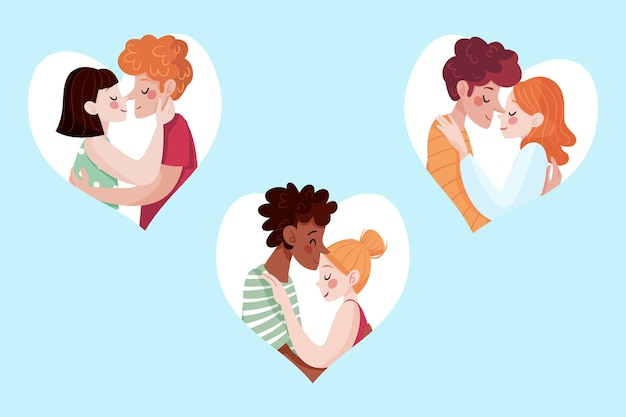 イラストにキスする手描きのカップル
