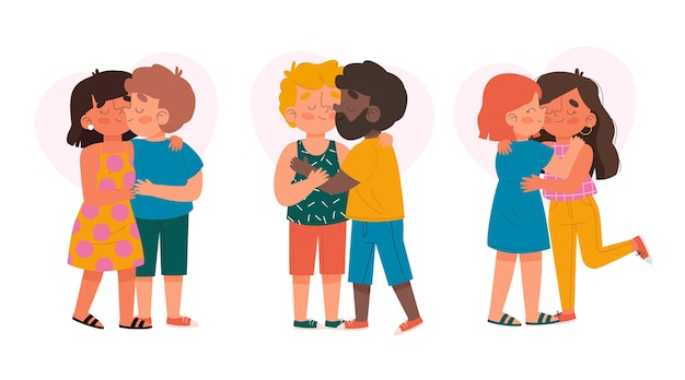 손으로 그린 커플 키스 그림