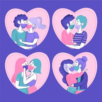 Covid 마스크 일러스트와 함께 키스하는 손으로 그린 커플