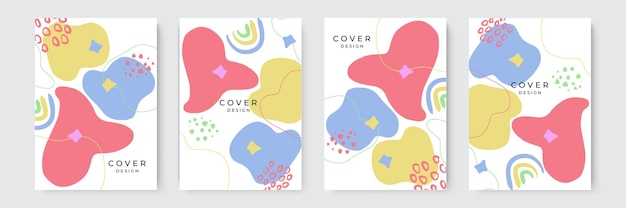 Hand drawn cover design background with blob abstract shapes. organic shapes compositions set. hand draw abstract design elements in pastel colors. minimal stylish cover template.