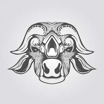 Hand drawn cow head