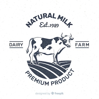 Hand drawn cow milk logo