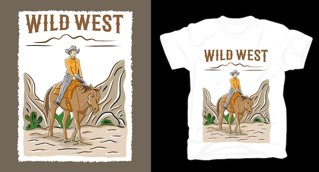 Hand drawn cowboy illustration with typography t-shirt design