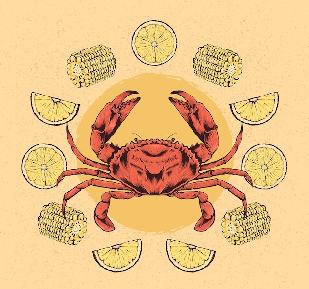 Рисованной иллюстрации краба с лимоном и кукурузой
