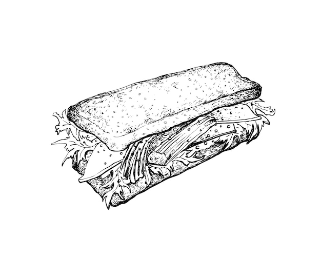Hand drawn of crab stick salad sandwich