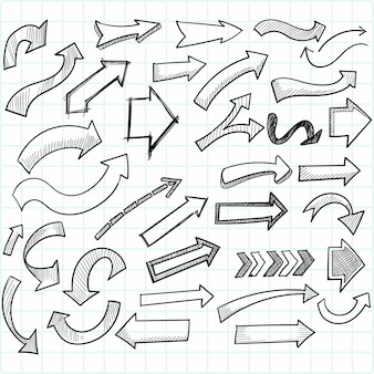 Hand drawn creative directional arrow set