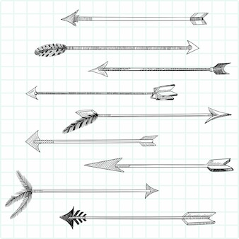 Hand drawn creative geometric arrow set design