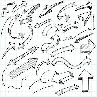 手描きの創造的な幾何学的な矢印セットのデザイン