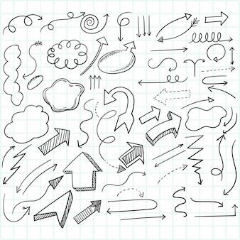 손으로 그린 창조적 인 기하학적 화살표 세트 디자인