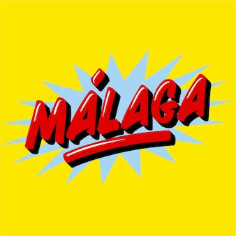 Ручной обращается креативная надпись малага