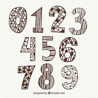 Hand drawn creative number collection