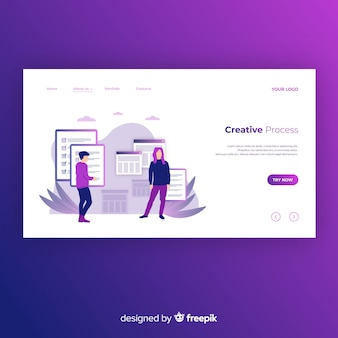 Hand drawn creative process landing page